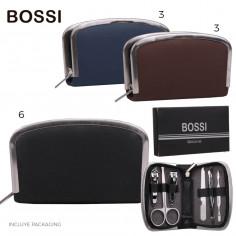 Set manicura Art. BOS 9700 PU cuero y flejes de metal c/ packaging