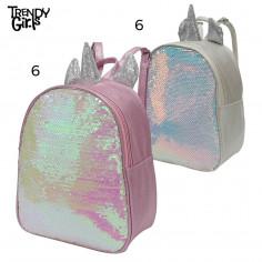 Mochila 10 Pulg. Art. TDY 8572 nylon 100% c/ lentejuelas movibles y unicornio