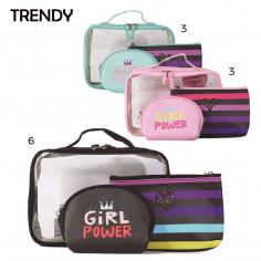 Set portacosmético x3 Art. TDY 8233 PVC 100% c/ rayas girl power