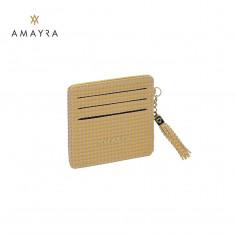 Tarjetero Art. AMA 67.B194.4 DORADO PU cuero texturado x6 tarjetas c/ flequillo