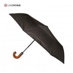 Paraguas corto semiautomático Art. CRO 62.P5004 liso 22 Pulg. 8 varillas siliconadas c/ mango madera