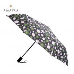 Paraguas corto automático Art. AMA 67.P6032.2 VERDE poliéster 100% estampado c/ 8 varillas