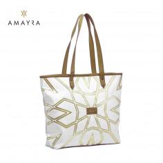 Canasto Art. AMA 67.5034.3 NATURAL PU cuero + 100% rafia c/ frente metalizado