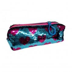 Cartuchera Art. OWE OWCA60001.2 CELESTE/FUCSIA poliéster 100% c/ lentejuelas movibles