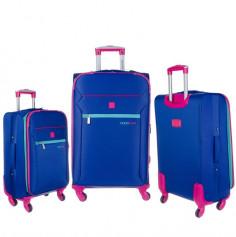 Set de valijas  Art. LSD 91.9041P azul c/ fucsia 4R 360 grados