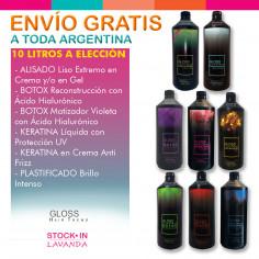 10 Litros De Alisado+ Keraluronic+ Keratina X 1ltc/u - Gloss