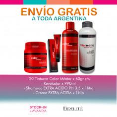 20 Tinturas Color Master+Agua+Shampoo Acido+Mascara-Fidelite