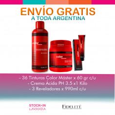 36 Tinturas Color Master + 3 Aguas + Mascara Acida- Fidelité
