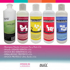 Shampoo NeutroX1L+ Alisado X1L + Keraluronic  X1L+ MixbombX1L - MAV Professional
