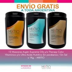 12 Mascaras Argán Supreme Oils y/o Therapy Color Vitaminico y/o Ultra Acido Nutritivo Sin parabenos / Sin Sal  x 1Kg. - MIXTIO