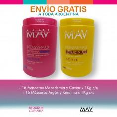 32 Mascaras Macadamia y Caviar y/o Argan y Keratina x1kg c/u - Mav