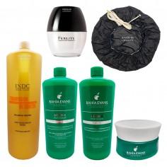 Shampoo x750gr+ Acondicionador x750gr+ Mascara Capilar x300gr + Vaso Mezclador + Gorro Termico - Bahia Evans