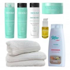 Shampoo + Acondicionador + Mascara + Crema de Peinar Curly Girl + Serum + Toallas - Bekim