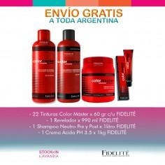 22 Tinturas Fidelite + 1 Oxidante x 990ml + Shampoo Cremoso Neutro + Mascara Acida Color Master- Fidelité