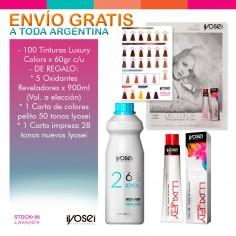 100 Tinturas Luxury Color x60gr c/u + 5 Oxidantes x900ml c/u + Carta Pelito 50 Tonos + Carta Impresa 28 Tonos - IYOSEI